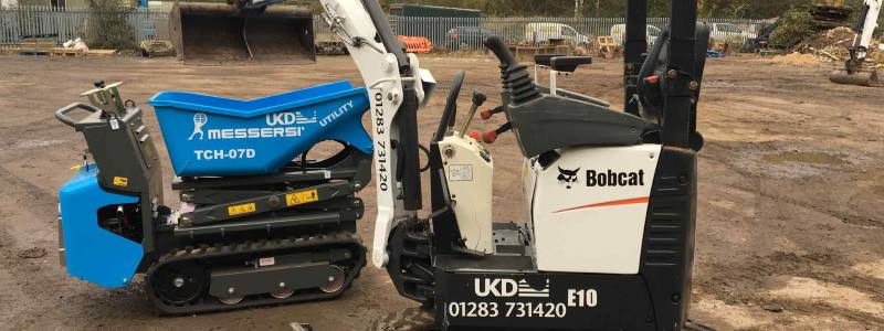 Power barrow Hire Derby Image with micro digger - mobile