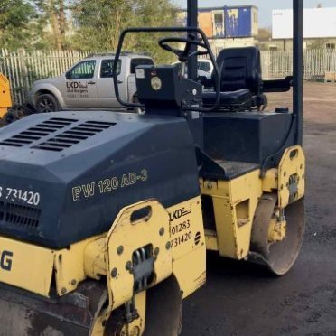 Image of road roller in use - Twin Drum Road Roller Hire in Derby, Burton on trent, Uttoxeter and Nottingham